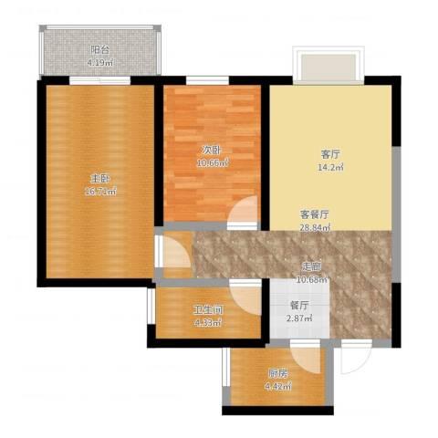 太乙城2室2厅1卫1厨86.00㎡户型图