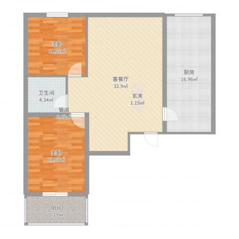龙泉花园2室2厅1卫1厨106.00㎡户型图