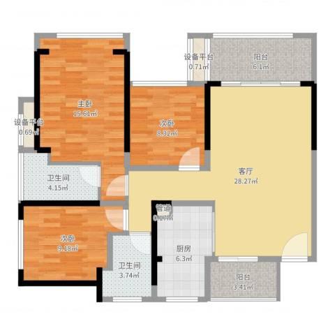 六和城3室1厅2卫1厨108.00㎡户型图