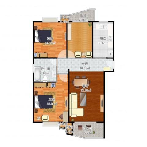 真情公寓(三期)2室1厅1卫1厨130.00㎡户型图