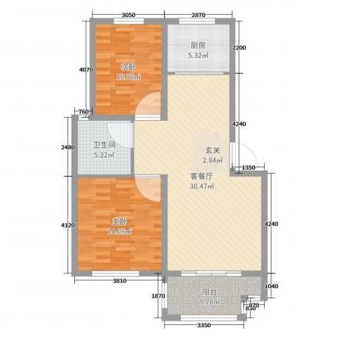 万厦・四季华廷2室2厅1卫1厨90.00㎡户型图