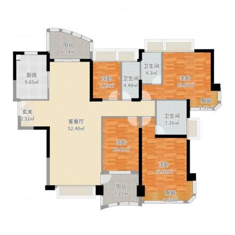 凯茵新城4室2厅3卫1厨194.00㎡户型图