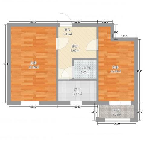双榆树东里2室1厅1卫1厨53.00㎡户型图