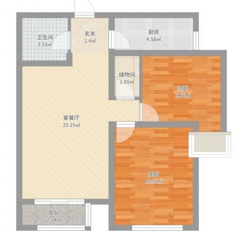 泰和世家2室2厅1卫1厨77.00㎡户型图