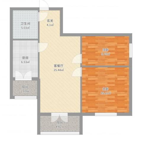 和苑2室2厅1卫1厨86.00㎡户型图