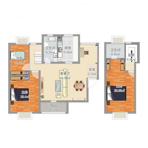博筑正阳花园3室2厅2卫1厨164.00㎡户型图