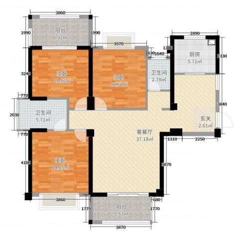 永鸿御珑湾3室2厅2卫1厨127.00㎡户型图