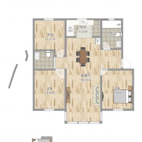 龙景花园3室2厅1卫1厨120.00㎡户型图