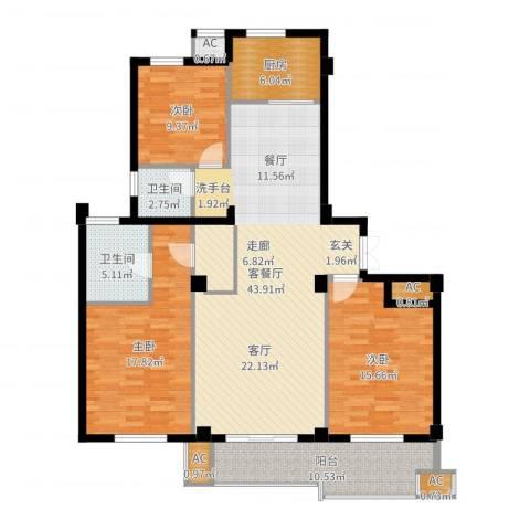 佳源东方不夜城3室2厅2卫1厨114.36㎡户型图