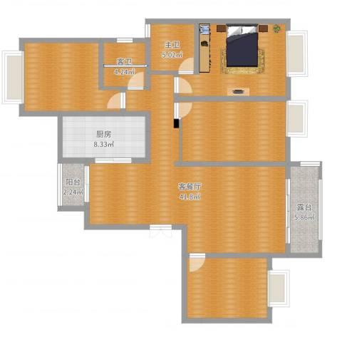 阳光嘉苑1室2厅1卫1厨155.00㎡户型图