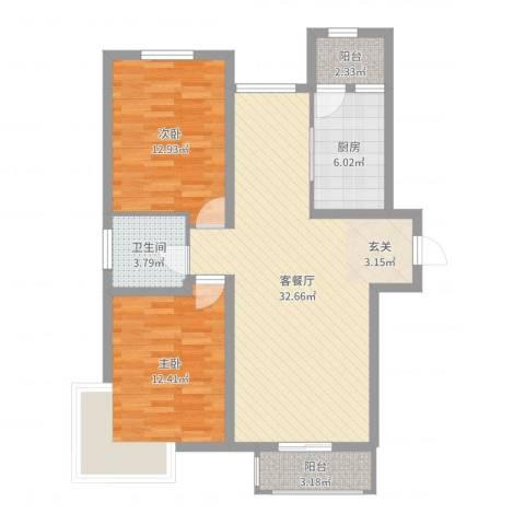 碧水庄园三期2室2厅1卫1厨92.00㎡户型图