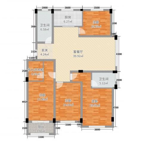 锦麟瓜渚御景园4室2厅2卫1厨153.00㎡户型图