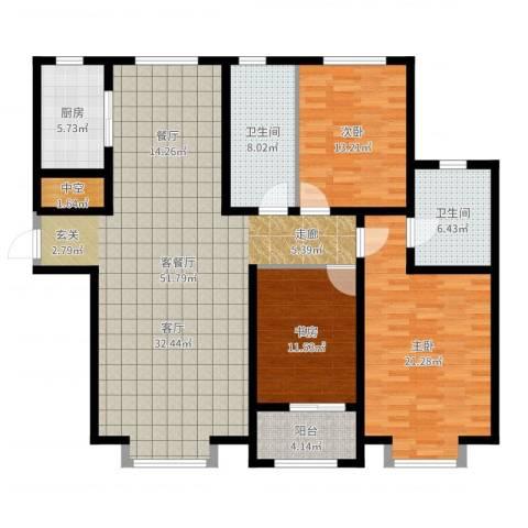 秀兰城市美居3室2厅2卫1厨155.00㎡户型图