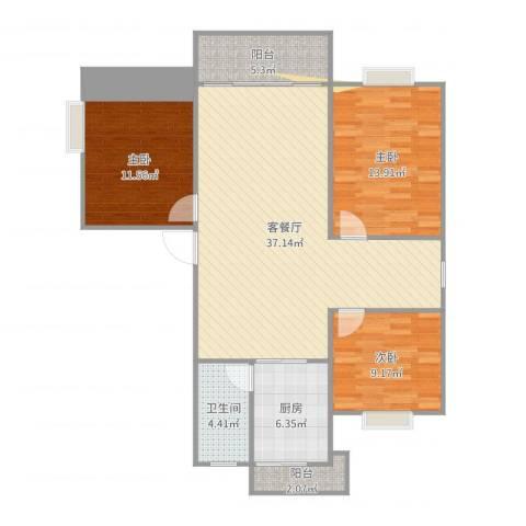 文峰小区3室2厅1卫1厨112.00㎡户型图