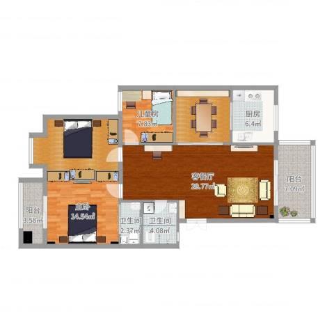 紫薇花园2室2厅2卫1厨121.00㎡户型图