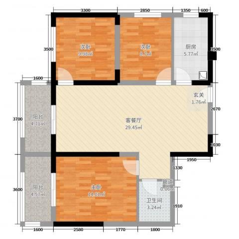 哈佛印象3室2厅1卫1厨116.00㎡户型图