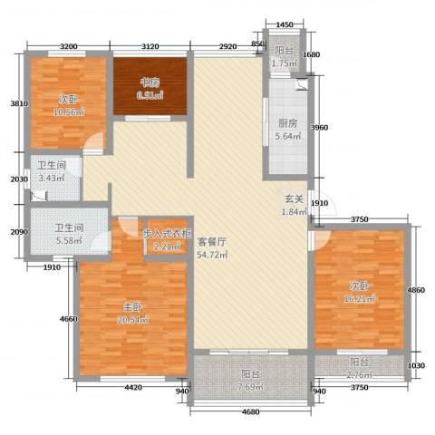 骋望七里楠花园4室2厅2卫1厨172.00㎡户型图