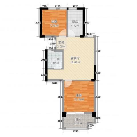 北城枫景园(01户型)2室2厅1卫1厨60.00㎡户型图
