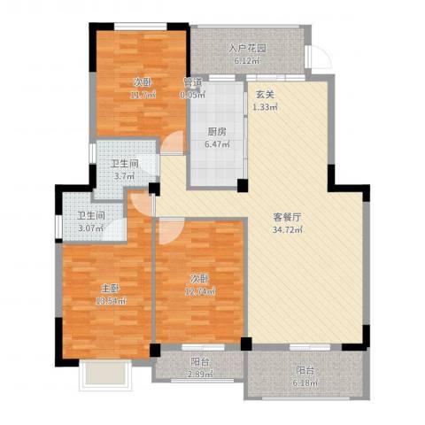 万豪臻品3室2厅2卫1厨126.00㎡户型图