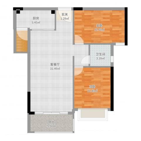 海韵华庭2室2厅1卫1厨90.00㎡户型图