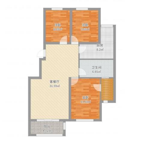 美和蓝湾3室2厅1卫1厨108.00㎡户型图