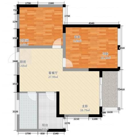 海棠花园2室2厅1卫1厨93.00㎡户型图