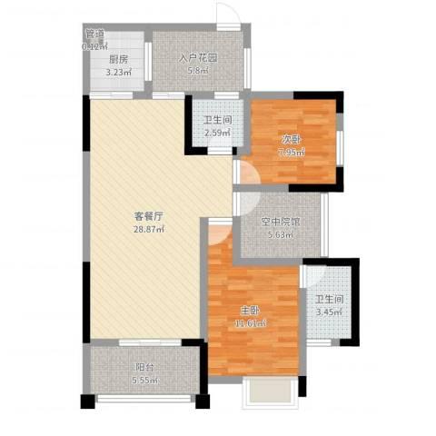 香格里拉西苑2室2厅2卫1厨94.00㎡户型图