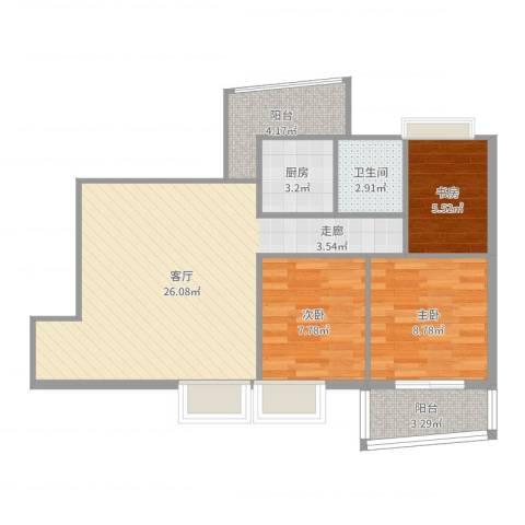 远洋明苑3室1厅1卫1厨77.00㎡户型图