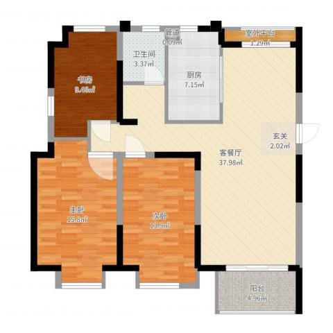 边城香榭里8号3室2厅1卫1厨118.00㎡户型图