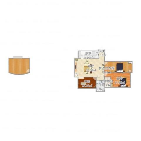 万成尚景2室1厅1卫1厨144.00㎡户型图