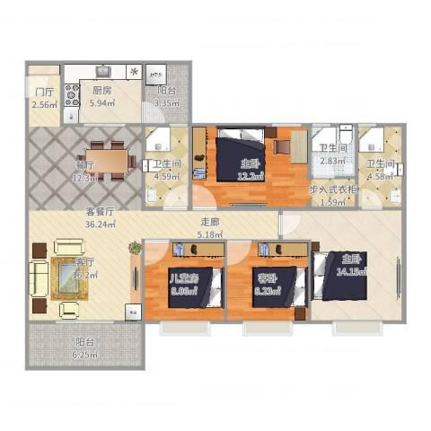 鼎湖・华庭花园3室2厅3卫1厨135.00㎡户型图