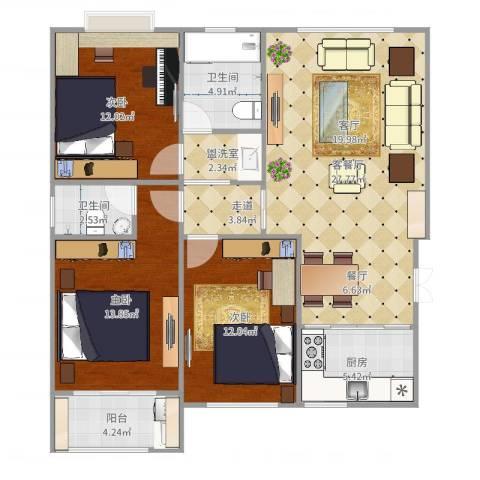 岱岳清华苑3室4厅2卫1厨110.00㎡户型图