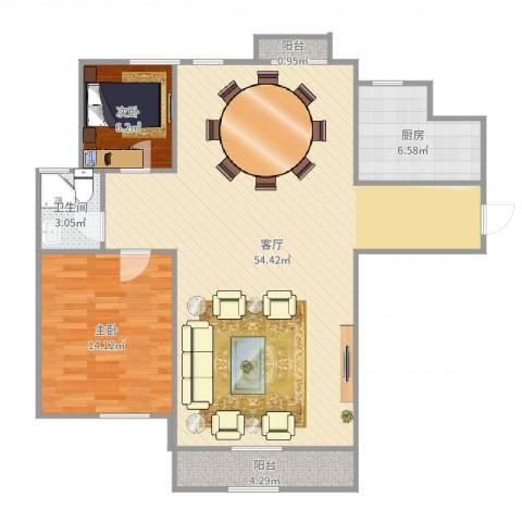 亲海园2室1厅1卫1厨112.00㎡户型图