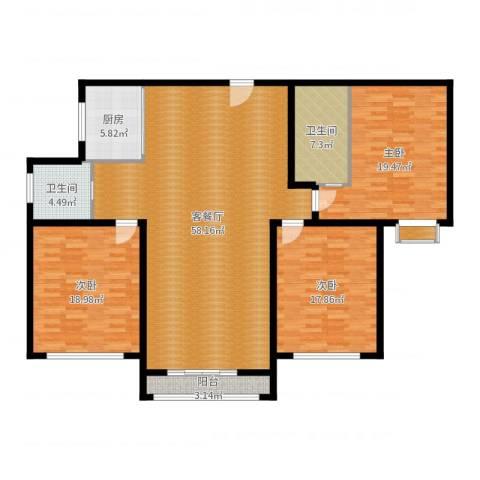 上城uptown3室2厅2卫1厨170.00㎡户型图