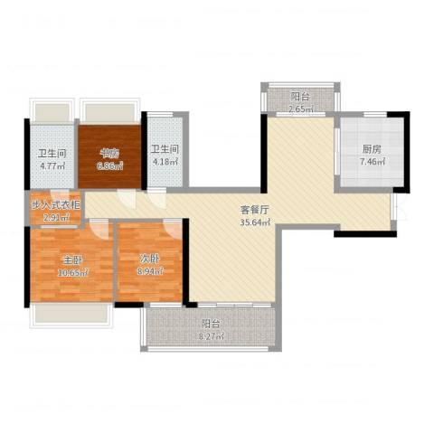 石湾帝庭国际3室2厅2卫1厨115.00㎡户型图