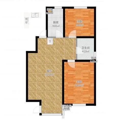 天房意境2室1厅1卫1厨80.00㎡户型图