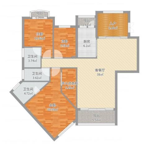东海湾3室2厅3卫1厨145.00㎡户型图