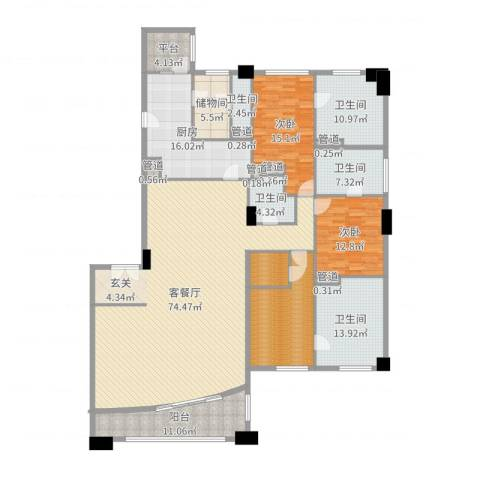 富国高银2室2厅5卫1厨246.00㎡户型图