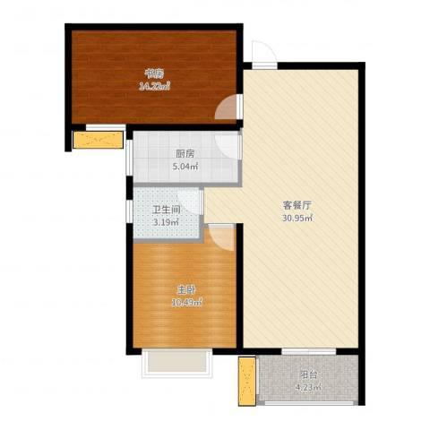中城花溪畔2室2厅1卫1厨85.00㎡户型图