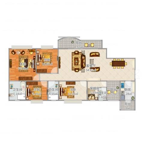 东方傲景峰4室2厅3卫1厨190.00㎡户型图