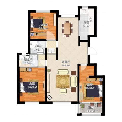 玫瑰公馆3室2厅2卫1厨123.00㎡户型图