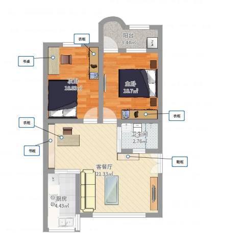 华颖花园2室2厅1卫1厨67.00㎡户型图