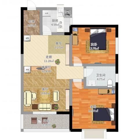 滨河御园2室2厅1卫1厨95.00㎡户型图