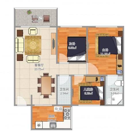 瑞丽花园3室2厅2卫1厨81.00㎡户型图