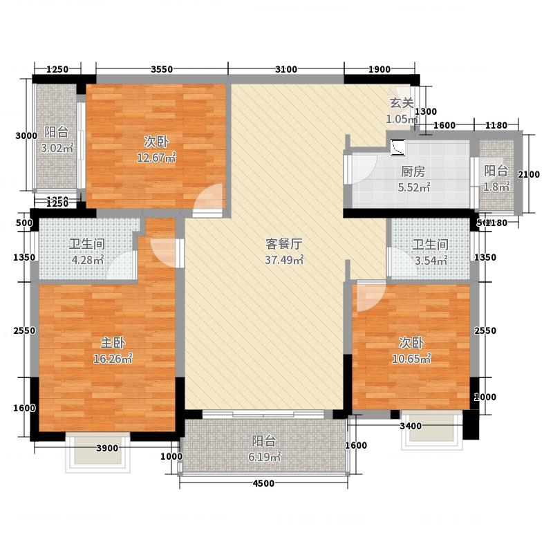 德天广场131.23㎡5、6、7栋6户型3室3厅2卫1厨
