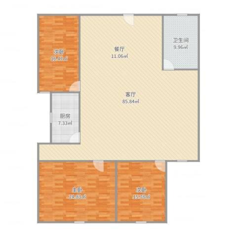 鹏程宝都3室1厅1卫1厨200.00㎡户型图