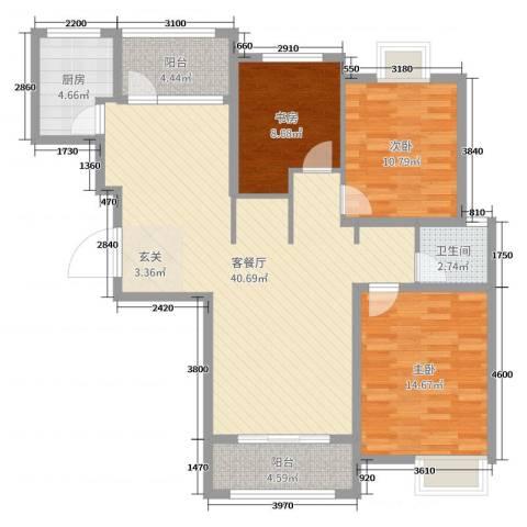 金禾华府3室2厅1卫1厨114.00㎡户型图