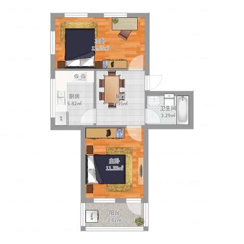 云石小区2室1厅1卫1厨55.00㎡户型图