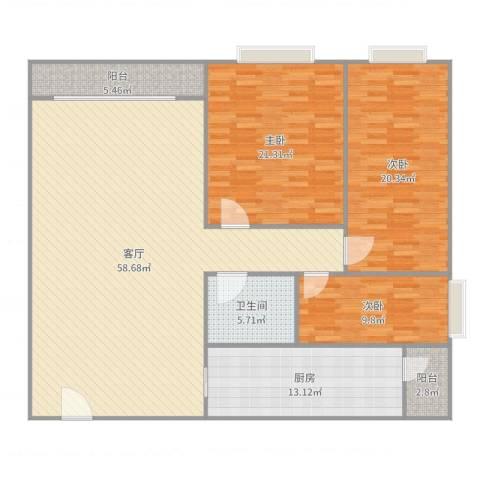 普君新城3室1厅1卫1厨172.00㎡户型图