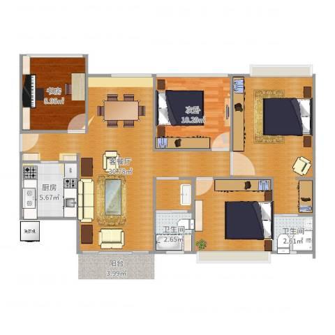 花园1号2室2厅2卫1厨115.00㎡户型图